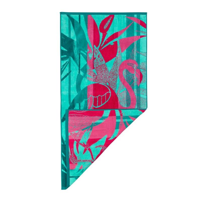 Doživite razkošno udobje in poletno brezskrbnost na vsakem koraku! Moderna plažna brisača je nepogrešljiva na plaži, bazenu ali v savni. Kakovostno plažno brisačo Flamingo odlikuje le najboljša dvojna bombažna preja. Prednost dvojne preje se kaže v večji vpojnosti, lepšem videzu, boljši odpornosti in daljši življenjski dobi. Enostransko strižen frotir poskrbi za žameten in mehak otip. Brisača je pralna na 60 °C.