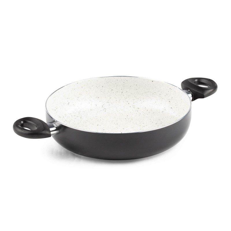Ponev z dvema ročajema Eco Cook premera 28 cm z neoprijemljivim gladkim mineralnim premazom omogoča naraven način kuhanja in pečenja, z malo maščobami. Hrana tako zadrži vse potrebne vitamine in minerale, ki jih naše telo potrebuje za zdrav način življenja. Primerna je za vsa kuhališča, tudi indukcijo, enostavna za pomivanje, tudi v pomivalnem stroju. Vsa posoda iz linije Eco Cook temelji na večslojni sestavi, s čimer je zagotovljena dolga življenjska doba ter visoka stopnja odpornosti in vzdržljivosti posode.