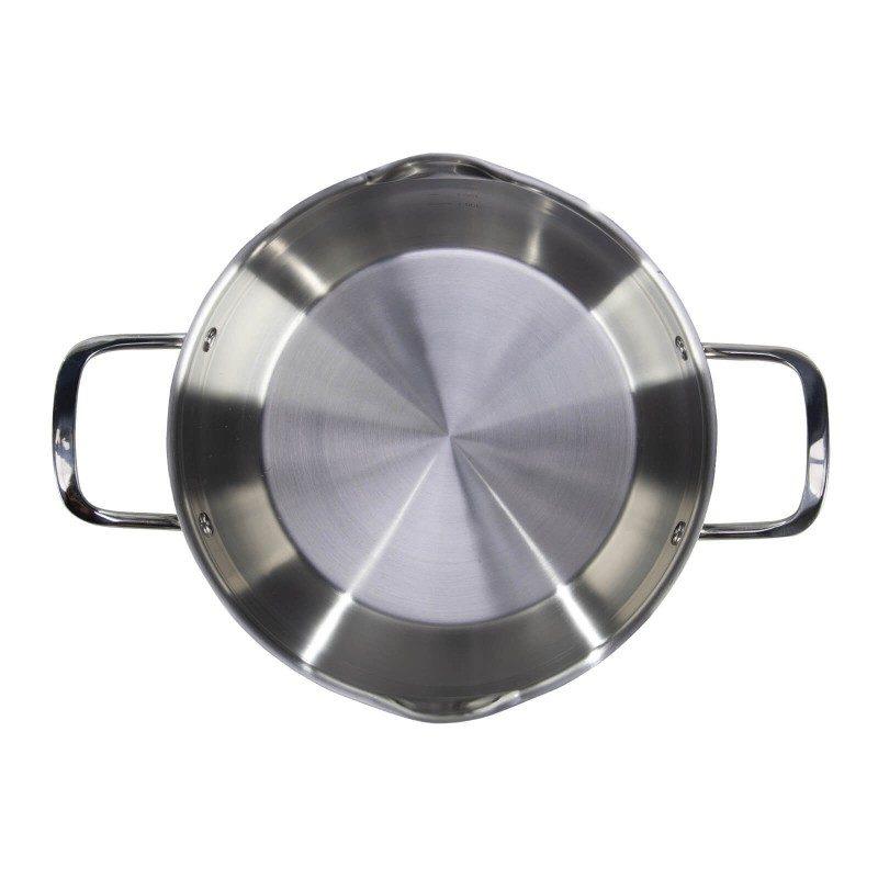 Jekleni lonec s stekleno pokrovno Pour&Cook premera 24 cm in prostornine 3 l odlikuje neuničljivo jeklo 18/10 s 3-slojnim dnom, ki omogoča hitro in enakomerno segrevanje ter krajši čas kuhanja. Tehnologija ThermoFlow poskrbi za odlično razporeditev toplote po celotni površini posode in s tem za enakomerno kuhanje. Za preprostejše kuhanje ima lonec v notranjosti merilno skalo, za lažje odlivanje in izparevanje pa odlivčnik, prilagojen pokrov in navzven obrnjen rob posode. Primeren je za vsa kuhališča, tudi indukcijo, enostaven za pomivanje, tudi v pomivalnem stroju.