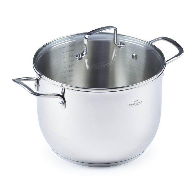 Jekleni lonec s stekleno pokrovno Pour&Cook premera 24 cm in prostornine 6,5 l odlikuje neuničljivo jeklo 18/10 s 3-slojnim dnom, ki omogoča hitro in enakomerno segrevanje ter krajši čas kuhanja. Tehnologija ThermoFlow poskrbi za odlično razporeditev toplote po celotni površini posode in s tem za enakomerno kuhanje. Za preprostejše kuhanje ima lonec v notranjosti merilno skalo, prilagojen pokrov in navzven obrnjen rob posode. Primeren je za vsa kuhališča, tudi indukcijo, enostaven za pomivanje, tudi v pomivalnem stroju.