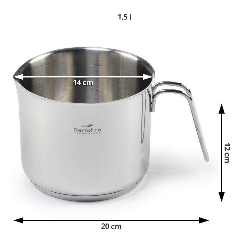 Jekleni lonček za mleko Pour&Cook premera 14 cm in prostornine 1,5 l odlikuje neuničljivo jeklo 18/10 s 3-slojnim dnom, ki omogoča hitro in enakomerno segrevanje ter krajši čas kuhanja. Tehnologija ThermoFlow poskrbi za odlično razporeditev toplote po celotni površini posode in s tem za enakomerno kuhanje. Za preprostejše kuhanje ima lonček v notranjosti merilno skalo, za lažje odlivanje pa navzven obrnjen rob. Primeren je za vsa kuhališča, tudi indukcijo, enostaven za pomivanje, tudi v pomivalnem stroju.