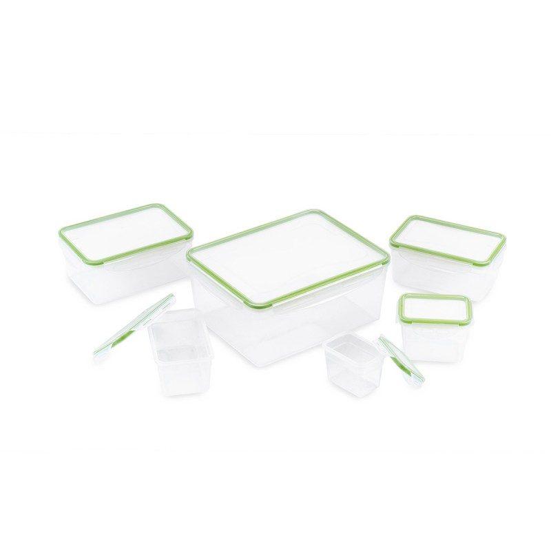 """12-delni set vsebuje 6 kvadratnih posod različnih velikosti iz najkakovostnejše plastike. Pokrovi z zapiranjem """"clip lock"""" hrani zagotavljajo neprepustno tesnjenje, hrana v posodah bo dlje časa ostala sveža in okusna. Vsestranska uporaba omogoča, da hrano v posodah segrejete v mikrovalovni pečici, jo shranite v hladilnik ali zamrzovalnik ter odnesete s sabo v šolo, službo ali na potovanje. Enostavno čiščenje pod tekočo vodo ali v pomivalnem stroju."""