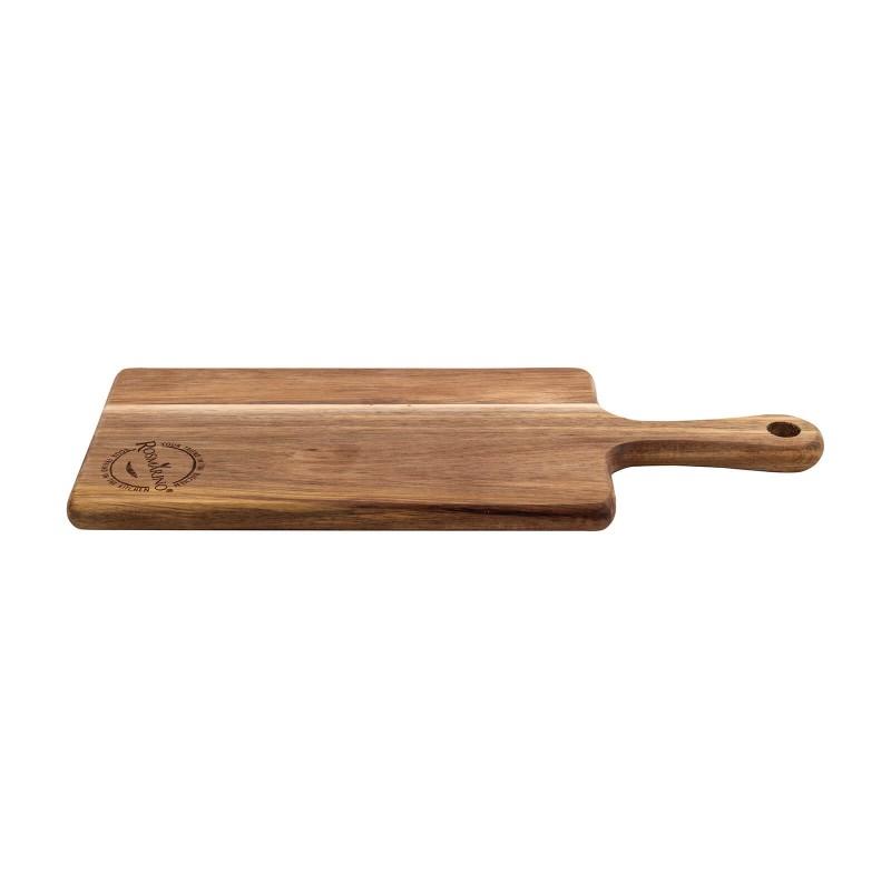 Večja deska iz akacijevega lesa Rosmarino je nepogrešljiva za uporabo v domači kuhinji. Izdelana je iz naravnega akacijevega lesa, ki je v gospodinjstvu vse bolj priljubljen zaradi svoje vzdržljivosti in trdnosti. Akacijev les velja za zelo obstojen, trden material z dolgo življenjsko dobo. Je zlatorjave ali rumenorjave barve, elastičen in zelo upogljiv. Deske iz akacijevega lesa so trpežne, primerne za rezanje najrazličnejše hrane. Deska ima daljši lesen ročaj, ki služi za lažje prenašanje. Desko operete pod tekočo vodo in obrišete s suho krpo.
