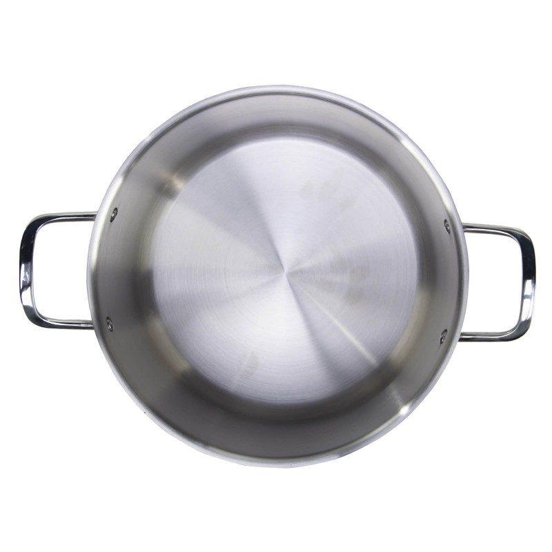 Jekleni lonec s stekleno pokrovko Pour&Cook premera 28 cm in prostornine 13 l odlikuje neuničljivo jeklo 18/10 s 3-slojnim dnom, ki omogoča hitro in enakomerno segrevanje ter krajši čas kuhanja. Tehnologija ThermoFlow poskrbi za odlično razporeditev toplote po celotni površini posode in s tem za enakomerno kuhanje. Za preprostejše kuhanje ima lonec v notranjosti merilno skalo, prilagojen pokrov in navzven obrnjen rob posode. Primeren je za vsa kuhališča, tudi indukcijo, enostaven za pomivanje, tudi v pomivalnem stroju.