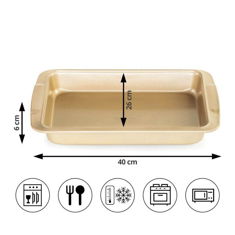 Večji univerzalni pekač Rosmarino Baker Golden iz visokokakovostnega karbonskega jekla in modernega videza v zlati barvi bo vaš novi nepogrešljiv pripomoček pri peki. Neoprijemljiv premaz z učinkom vročega kamna omogoča edinstven pristop k peki, saj boste lahko uporabili nič ali minimalno količino maščob. Hrana se tako ne bo oprijela pekača, njeno odstranjevanje bo enostavno, brez uporabe kuhinjskih pripomočkov. Zaradi sestave iz karbonskega jekla je pekač odporen tudi na visoke temperature, do 240 °C, primeren za hrambo v hladilniku in pomivanje v pomivalnem stroju. Idealen pripomoček za peko mesa, rib, zelenjave in peciva.