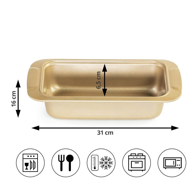 Višji pekač Rosmarino Baker Golden iz visokokakovostnega karbonskega jekla in modernega videza v zlati barvi bo vaš novi nepogrešljiv pripomoček pri peki. Neoprijemljiv premaz z učinkom vročega kamna omogoča edinstven pristop k peki, saj boste lahko uporabili nič ali minimalno količino maščob. Hrana se tako ne bo oprijela pekača, njeno odstranjevanje bo enostavno, brez uporabe kuhinjskih pripomočkov. Zaradi sestave iz karbonskega jekla je pekač odporen tudi na visoke temperature, do 240 °C, primeren za hrambo v hladilniku in pomivanje v pomivalnem stroju. Idealen pripomoček za peko mesnih štruc, kruha in ostalega peciva.