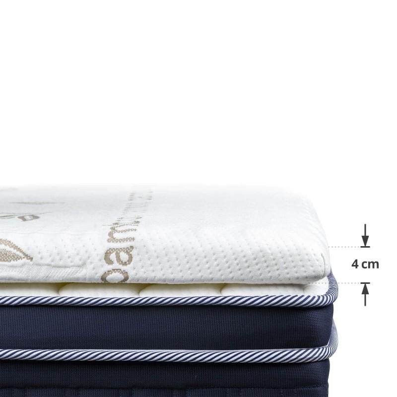 Nadvložek iz hladno stisnjene pene Bamboo Premium je visok 4 cm in daje dodatno mehkobo in udobje vašemu ležišču, podaljšuje njegovo življenjsko dobo ter zagotavlja, da se boste zjutraj zbudili spočiti in naspani. 3 cm visoko ortopedsko jedro iz visokoelastične poliuretanske pene s piramidno strukturo vam zagotavlja točkovno podporo in se telesu popolnoma prilagodi. Za dodatno udobje je v prevleko nadvložka dodan dodaten 1 cm spominske pene, ki se popolnoma prilagodi obliki in teži telesa. Prevleka nadvložka je obogatena z bambusovimi vlakni, snemljiva in pralna na 30 °C.