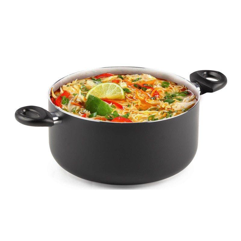 Lonec Eco Cook premera 28 cm z neoprijemljivim gladkim mineralnim premazom omogoča naraven način kuhanja, z malo maščobami. Hrana tako zadrži vse potrebne vitamine in minerale, ki jih naše telo potrebuje za zdrav način življenja. Primeren je za vsa kuhališča, tudi indukcijo, enostaven za pomivanje, tudi v pomivalnem stroju. Vsa posoda iz linije Eco Cook temelji na večslojni sestavi, s čimer je zagotovljena dolga življenjska doba ter visoka stopnja odpornosti in vzdržljivosti posode.