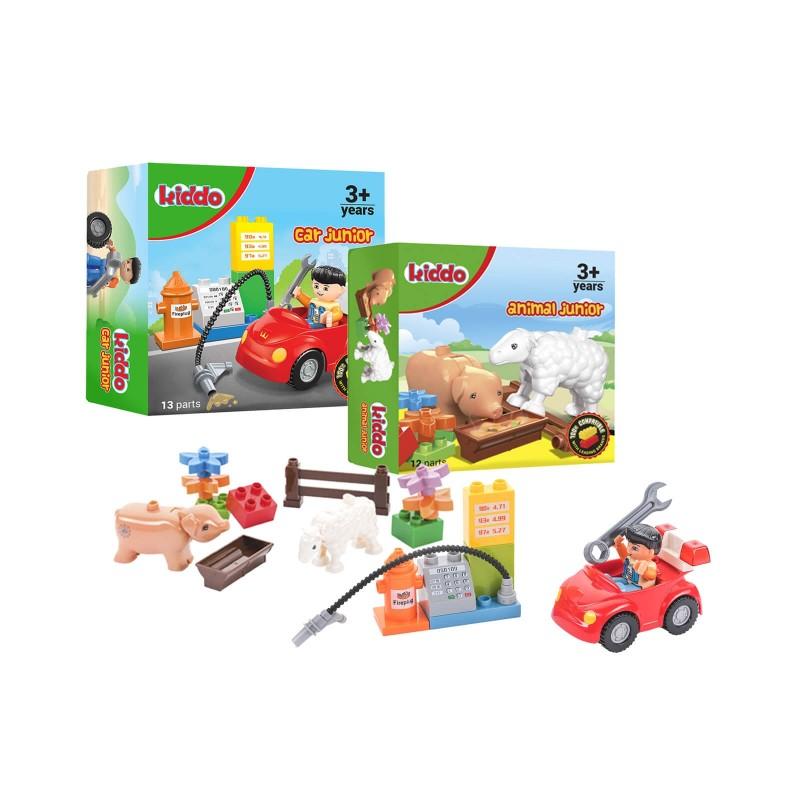2-delni set otroških kock Kiddo Junior: avto in živali. S kockami koristno preživljate prosti čas, zraven pa se veliko naučite. Spodbujajo k domišljiji in ustvarjanju. Z igračo otroci razvijajo fino motoriko in prostorsko zaznavanje. Kocke so primerne za otroke starejše od 3. let.