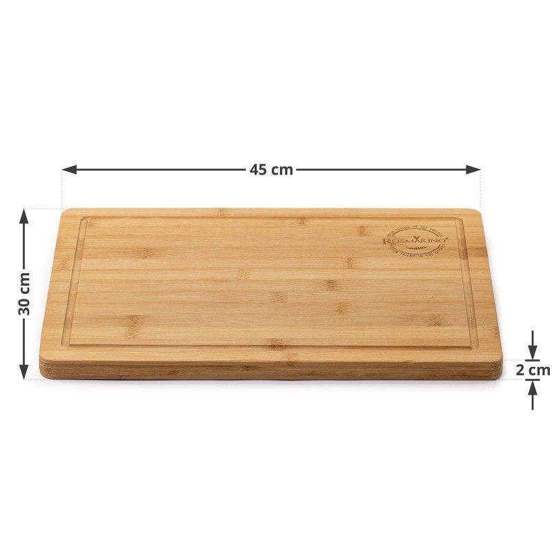 Večja bambusova deska Rosmarino je nepogrešljiva za uporabo tako v kuhinji kot na piknikih ali praznovanjih na prostem. Izdelana je iz naravnega bambusovega lesa, ki je v gospodinjstvu vse bolj priljubljen zaradi svoje vzdržljivosti. Bambusov les velja za zelo obstojen, trden material z dolgo življenjsko dobo. Čeprav je lahek, so deske iz bambusovega lesa trpežne, primerne za rezanje najrazličnejše hrane. V rob deske sta skrbno izdolbena ročaja za lažje prenašanje in kanal za odtekanje odvečne tekočine.