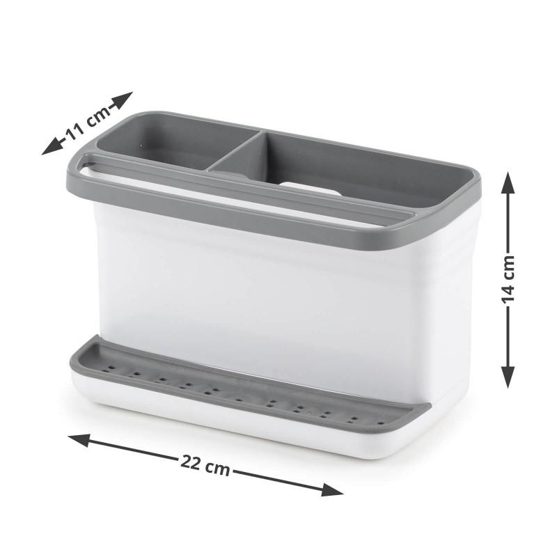 3-delni set nepogrešljivih kuhinjskih odcejalnikov in organizatorjev. Izjemno praktičen odcejalnik posode je primeren za manjše kuhinje ali kampiranje, za vse, ki nimate veliko prostora za odcejanje in odlaganje pomite posode. Dvostransko uporabna odcejalna plošča na eni strani z zatiči za vse tipe krožnikov, na drugi za lažje odlaganje loncev in ponev. Enostavno nastavljivi nastavki za kozarce, ki jih lahko poljubno premaknete tja, kjer vam najbolj ustreza. Stojalo za pribor je po želji nastavljivo na eno ali drugo stran odcejalnika. 360° vrtljiv odlivnik pa bo poskrbel za nemoteno odtekanje odvečne vode, ne glede na položaj ga lahko usmerite v pomivalno korito. Izjemno praktičen odcejalnik kuhinjskega pribora z dvema režama za odcejanje večjih kuhinjskih nožev in ostalih ostrih predmetov in s šestimi predeli za odcejanje pribora. Silikonska podloga v notranjosti odcejalnika bo zaščitila ohišje pred ostrimi predmeti, hkrati pa s svojimi silikonskimi nogicami zagotavlja stabilnost posode. Majhen, a izjemno priročen kuhinjski organizator za hrambo čistilnih pripomočkov.  Najbolj priročen in enostaven način za hrambo gobic, detergentov in drugih čistilnih pripomočkov - vse v eni posodi in na enem mestu.
