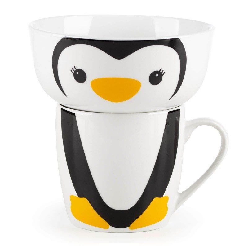 2-delni otroški set iz porcelana Rosmarino z motivom pingvina bo postal najljubši otrokov prijatelj pri zajtrku ali večerji. Skodelica je idealna za pripravo kosmičev, kaš, sadja, zelenjave, sladoleda in druge otroške hrane, medtem ko je šalčka primerna za pripravo vseh vrst napitkov, mleka, kakava ali čaja. Set je izdelan iz kakovostnega porcelana, primernega za uporabo v mikrovalovni pečici, shranjevanje v hladilniku in pranje v pomivalnem stroju. Glavna prednost porcelana je v tem, da se ne navzame vonja in okusa, je enostaven za čiščenje z dolgo življenjsko dobo. Idealna izbira za otroško darilo, s katerim boste narisali nasmeh na obraz vsakemu malčku.