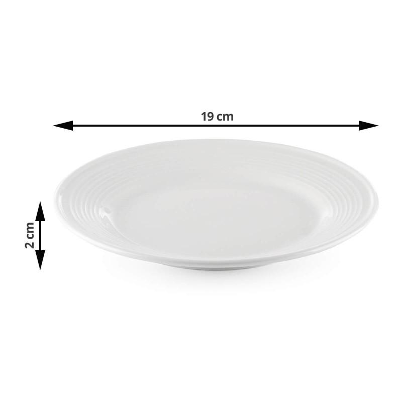 Linija porcelana Rosmarino Cucina Deko navdušuje s svojim dovršenim dizajnom in snežno belino za brezmejno eleganco. Uživajte v svojih najljubših obrokih! Desertni krožnik je izdelan iz visokokakovostnega in vzdržljivega porcelana. Primeren je tako za serviranje sladic kot tudi ostalih manjših obrokov. Gladek in sijoč porcelan bo dodal vaši mizi klasično lepoto in dodano vrednost ter bo zagotovo navdušil tako domače kot goste. Porcelan s svojim videzom ni primeren le za domačo uporabo, ampak se s svojim prefinjenim izgledom odlično poda tudi v okolje profesionalne kuhinje.