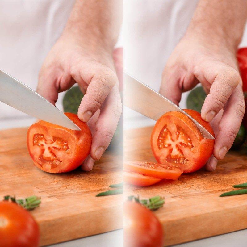 Topi in skrhani noži so preteklost! Ročni ostrilec Rosmarino je namenjen ostrenju vseh vrst jeklenih kuhinjskih nožev, je povsem varen in enostaven za uporabo. Da bodo vaši noži vrhunske ostrine, ima ostrilec dve reži iz brusilnega jekla, ki ju uporabite glede na topost noža. Dve ravni tako omogočata grobo in fino ostrenje. Z načinom grobega ostrenja boste izostrili še tako topa rezila in tudi zelo skrhane nože, s finim načinom pa boste ostrino nožev le še dodatno izpopolnili. Kot ostrenja je 25–30°, kar pomeni, da ustvarja trpežne in ostre robove za dlje časa, kar je idealno za večino jeklenih nožev v gospodinjski rabi. Na spodnji strani ročaja in brusilne glave ima nedrsečo podlogo, ki brusilec med brušenjem zadrži na mestu. Zaradi svoje majhnosti je primeren za uporabo v vsaki kuhinji, enostavno pa ga vzamete zraven tudi na kampiranje ali piknik.