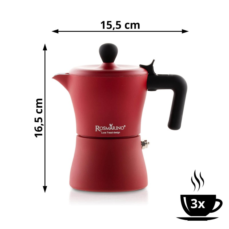 Kafetiera Rosmarino prostornine 150 ml je idealna za pripravo od 1 do 3 skodelic kave. Narejena iz aluminija in prevlečena z nerjavečim jeklom, kar ji daje možnost uporabe tudi na indukcijski plošči. Paket vsebuje tudi dodatek za pripravo 1 skodelice kave. Minimalističen dizajn priznanega industrijskega oblikovalca Luce Trazzija z ergonomsko oblikovanim ročajem iz SoftTouch materiala poskrbi, da bo priprava vaše kave še enostavnejša. Po končani uporabi jo enostavno sperete pod tekočo vodo.