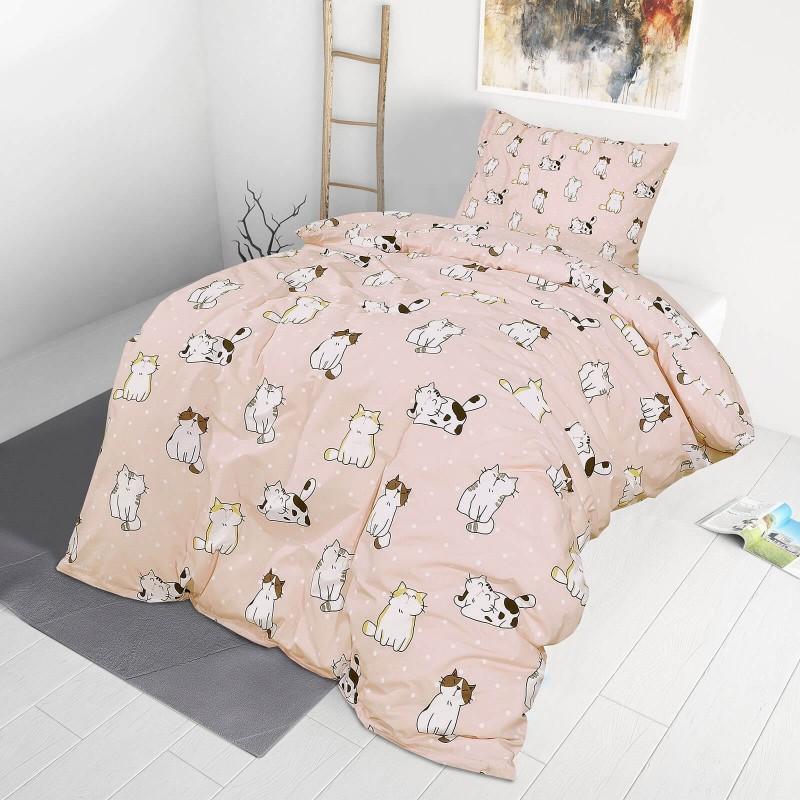 Poskrbite za miren in udoben spanec svojih najmlajših z bombažno posteljnino! Prikupen otroški motiv bo otroke zagotovo navdušil in popeljal v čudovito sanjsko deželo. Posteljnina Pretty Cats je iz renforce platna, ki velja za lahko, mehko tkanino, preprosto za vzdrževanje. Posteljnina je pralna na 40 °C.