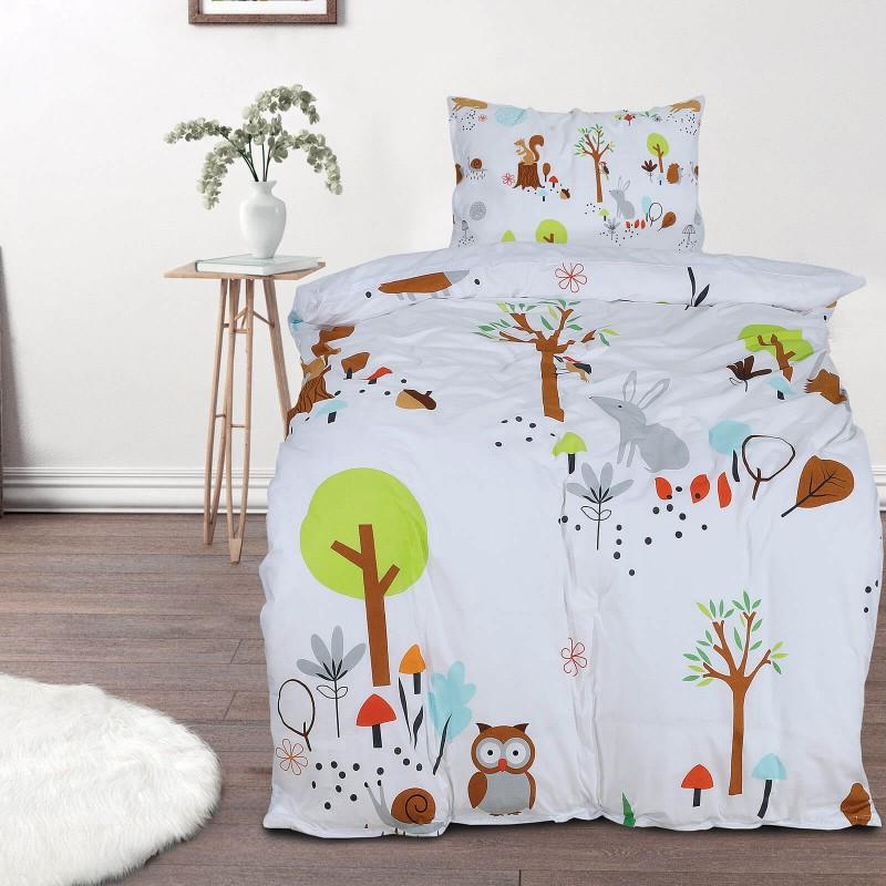 Poskrbite za miren in udoben spanec svojih najmlajših z bombažno posteljnino! Prikupen otroški motiv bo otroke zagotovo navdušil in popeljal v čudovito sanjsko deželo. Posteljnina Woodland je iz renforce platna, ki velja za lahko, mehko tkanino, preprosto za vzdrževanje. Posteljnina je pralna na 40 °C.