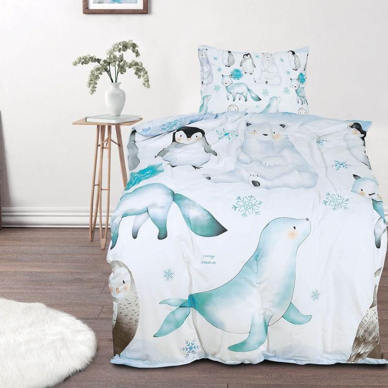Poskrbite za miren in udoben spanec svojih najmlajših z bombažno posteljnino! Prikupen otroški motiv bo otroke zagotovo navdušil in popeljal v čudovito sanjsko deželo. Posteljnina Penguin je iz renforce platna, ki velja za lahko, mehko tkanino, preprosto za vzdrževanje. Posteljnina je pralna na 40 °C.