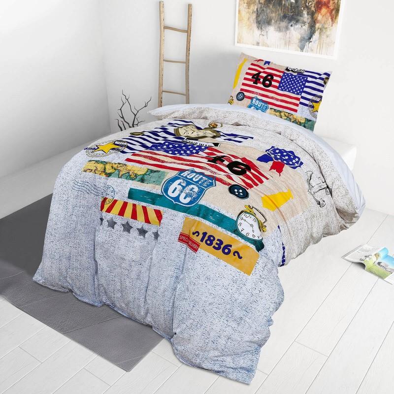 Poskrbite za miren in udoben spanec svojih najmlajših z bombažno posteljnino! Prikupen otroški motiv bo otroke zagotovo navdušil in popeljal v čudovito sanjsko deželo. Posteljnina Route 66 je iz renforce platna, ki velja za lahko, mehko tkanino, preprosto za vzdrževanje. Posteljnina je pralna na 40 °C.