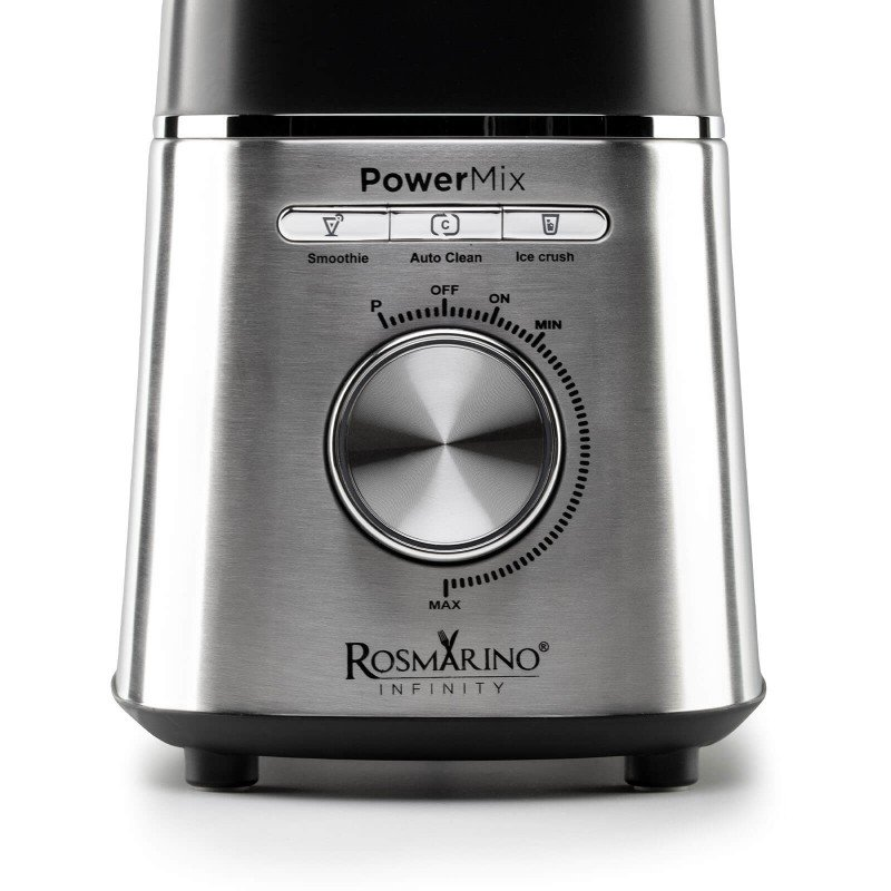 Mešalnik, ki bo opravil delo namesto vas. Namizni mešalnik Rosmarino Infinity Power Mix je vrhunski, izjemno zmogljiv in hiter pripomoček v vaši kuhinji za vse vaše obroke v dnevu, od zajtrka, kosila, obrokov na poti in vse do večerje. 6 rezil iz nerjavečega jekla omogoča pripravo različnih sadnih ali zelenjavnih napitkov, različnih omak, ali celo drobljenja ledu! Moč motorja s 1400 W, 3 prednastavljene funkcije in dodatna turbo pulzna funkcija vas bodo navdušili z raznoliko paleto različnih tekstur sestavin. V prostorni 1,5-litrski stekleni posodi z merilno skalo boste uživali v brezskrbni pripravi jedi za vso družino. Kot nalašč tudi za pripravo otroških obrokov. Minimalistični dizajn v črni in inox barvi bo navdušil tudi vse ljubitelje elegance v vsaki sodobni kuhinji.