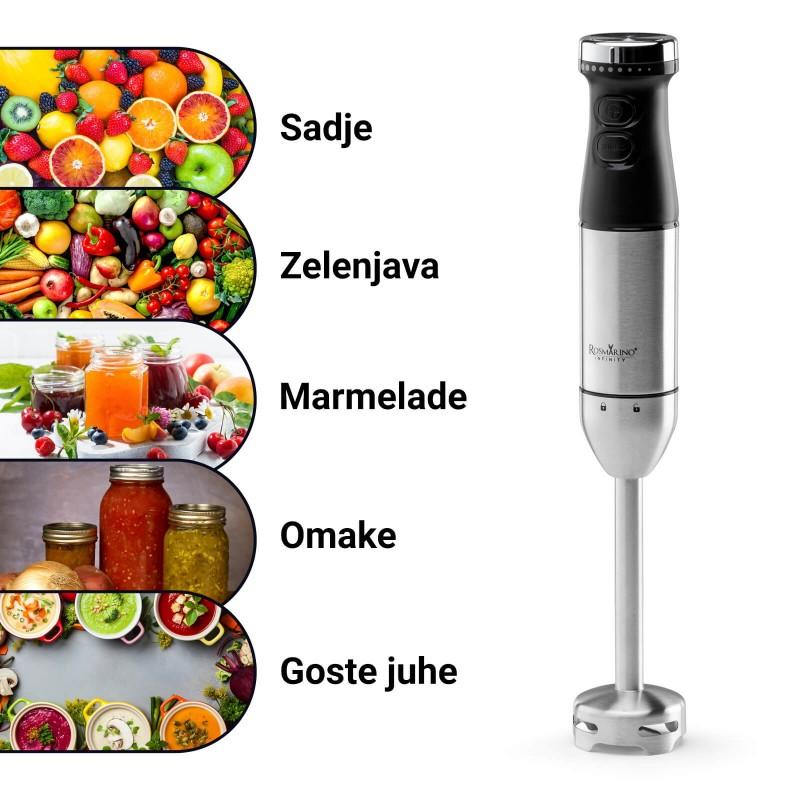 Palični mešalnik Rosmarino Infinity je nepogrešljiv pripomoček za enostavno mešanje ali pasiranje širokega nabora sestavin v kuhinji. S preprostim klikom boste dosegli popolne strukturo juh, omak in drugih sestavin za vaše obroke. Zahvaljujoč 2 različnima hitrostma omogoča pripravo 2 različnih struktur pasiranja: od bolj gladke do grobe strukture. Primerno tudi za pripravo otroških obrokov. Ergonomska oblika mešalnika in estetska oblika v inox in črni barvi bosta prepričali vse ljubitelje kuhanja in estetike. S priloženo mešalno posodo s prostornino 700 ml in merilno skalo boste enostavno odmerili vse želene sestavine za vaše kuharske podvige.