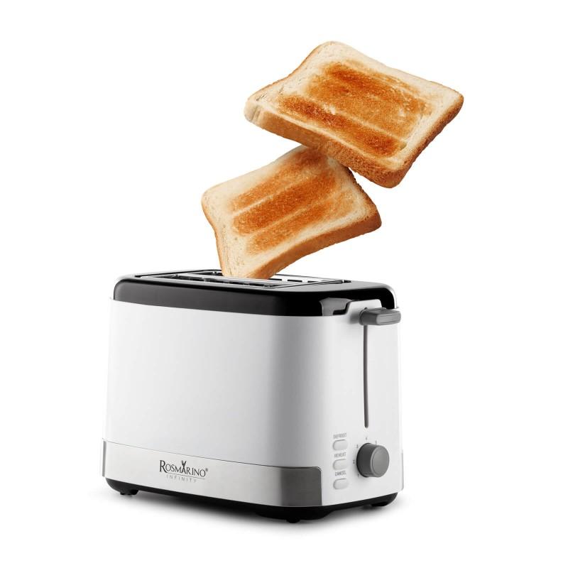 Opekač kruha Rosmarino Infinity odlikuje preprosta uporaba in popolno opečeni kruhki ali toasti za vsak obrok. Idealen je za raznoliko zapečene kruhke, kjer si lahko vsak družinski član pripravi toast po svojih željah. Izbirate lahko med 7 različnimi stopnjami zapečenosti toasta. Dodatne 3 funkcije za odmrzovanje, pogrevanje in prekinitev so kot nalašč za sodoben in hiter življenjski slog. Minimalističen dizajn v beli barvi z inox in črnimi zaključnimi detajli bo prepričal vsakega ljubitelja kuhanja. Zahvaljujoč odstranljivemu pladnju za drobtine je naprava enostavna tudi za čiščenje.