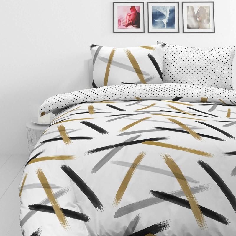 Čas je za popolno razvajanje z moderno bombažno posteljnino! Posteljnina Brush Strokes je iz renforce platna, ki velja za lahko, mehko tkanino, preprosto za vzdrževanje. Naj vas očara moderen dizajn z motivom črt. Posteljnina je pralna na 40 °C.