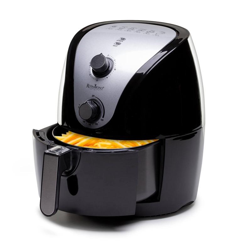 Naredite konec olju in uživajte obrok brez nepotrebne maščobe! Cvrtnik na vroč zrak Rosmarino Infinity navdušuje z bolj zdravim revolucionarnim načinom cvrtja sestavin na vroč zrak in tako prihrani na kalorijah in olju, vendar ohranja okus in teksturo ocvrte hrane. Tovrstna tehnologija omogoča pripravo vašega najljubšega krompirčka, sladkega krompirja, ribjih palčk, ocvrtih piščančjih bedrc in vseh ocvrtih sladkih pregreh s kar 75 % manj maščob. Najlažja pot do vaše najljubše hrane popolnoma brez slabe vesti in manj štetja kalorij.