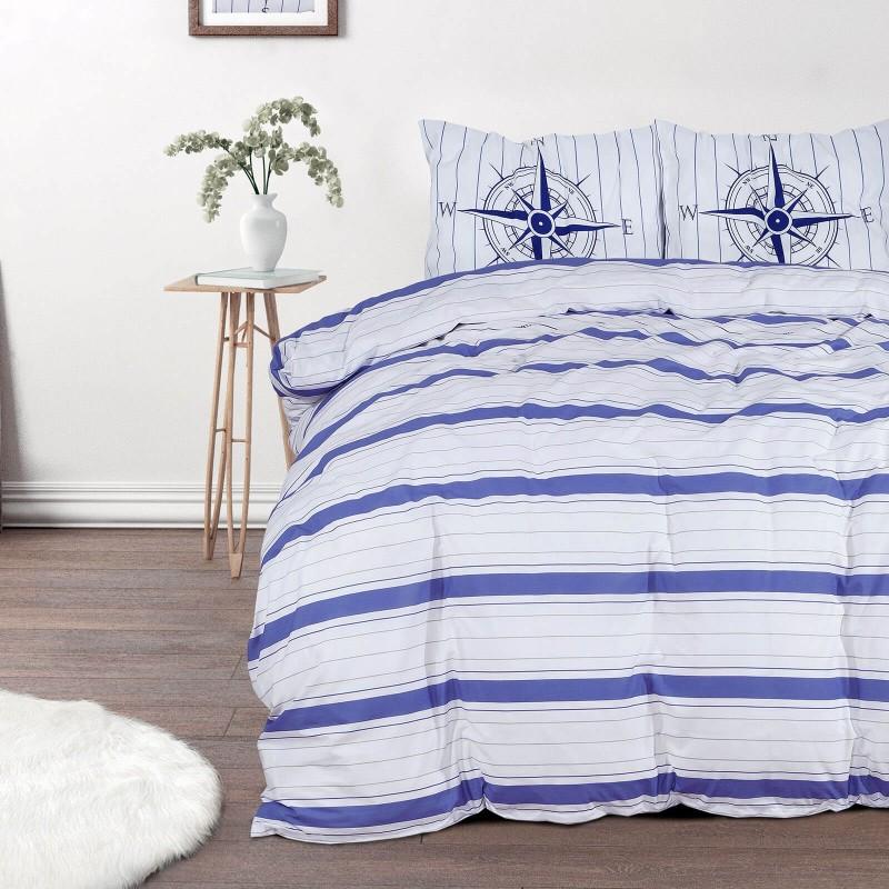 Čas je za popolno razvajanje z moderno bombažno posteljnino! Posteljnina Nautic Stripes je iz renforce platna, ki velja za lahko, mehko tkanino, preprosto za vzdrževanje. Naj vas očara moderen dizajn z morskim potiskom. Posteljnina je pralna na 40 °C.