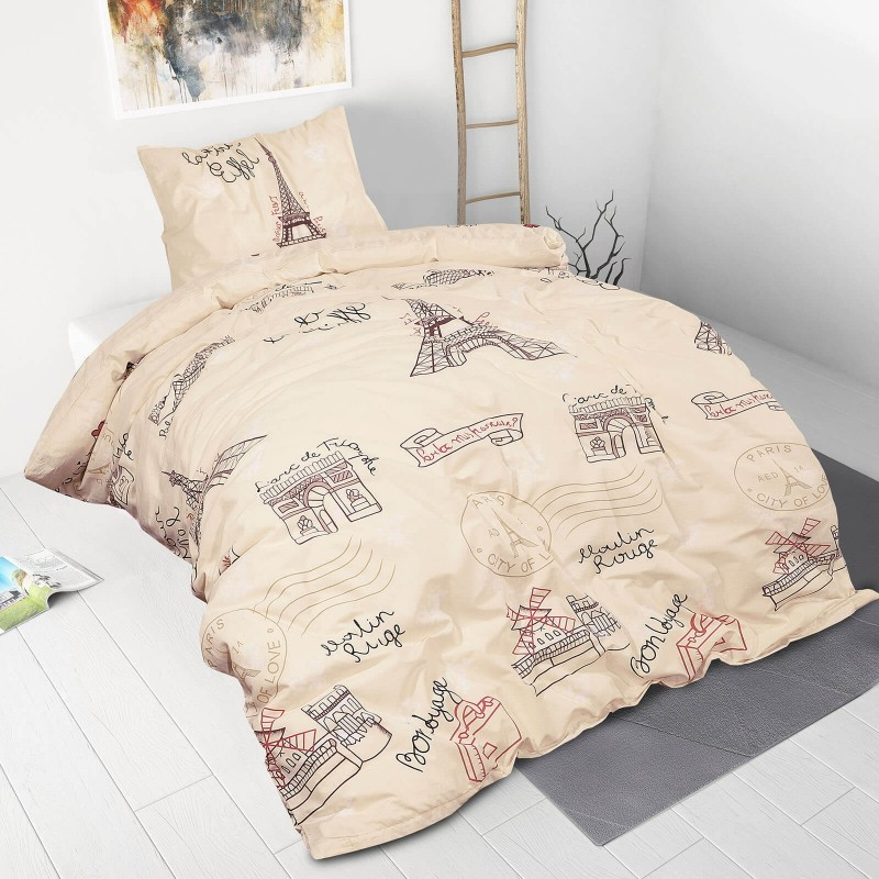 Poskrbite za miren in udoben spanec svojih najmlajših z bombažno posteljnino! Prikupen otroški motiv bo otroke zagotovo navdušil in popeljal v čudovito sanjsko deželo. Posteljnina Paris Dreams je iz renforce platna, ki velja za lahko, mehko tkanino, preprosto za vzdrževanje. Posteljnina je pralna na 40 °C.