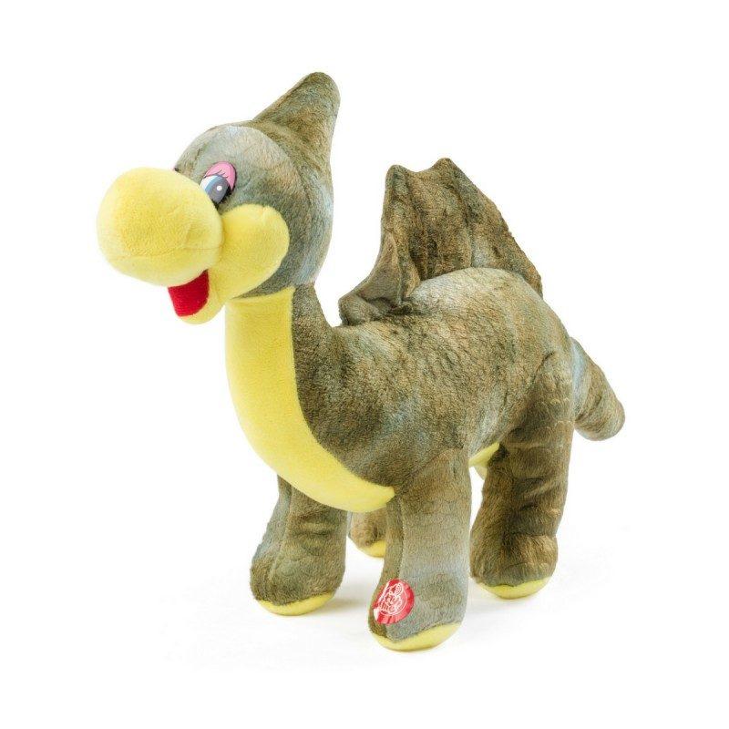 Stacy je vesel stegozaver. Dino Stacy je velik 20 x 39 cm. Mehka plišasta igrača oddaja zvok, priložene so tudi baterije.