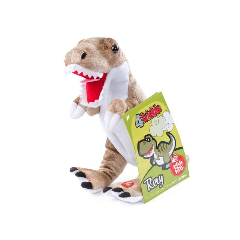 Rexy je prijazen tiranozaver. Dino Rexy je velik 26 x 26 cm. Mehka plišasta igrača oddaja zvok, priložene so tudi baterije.