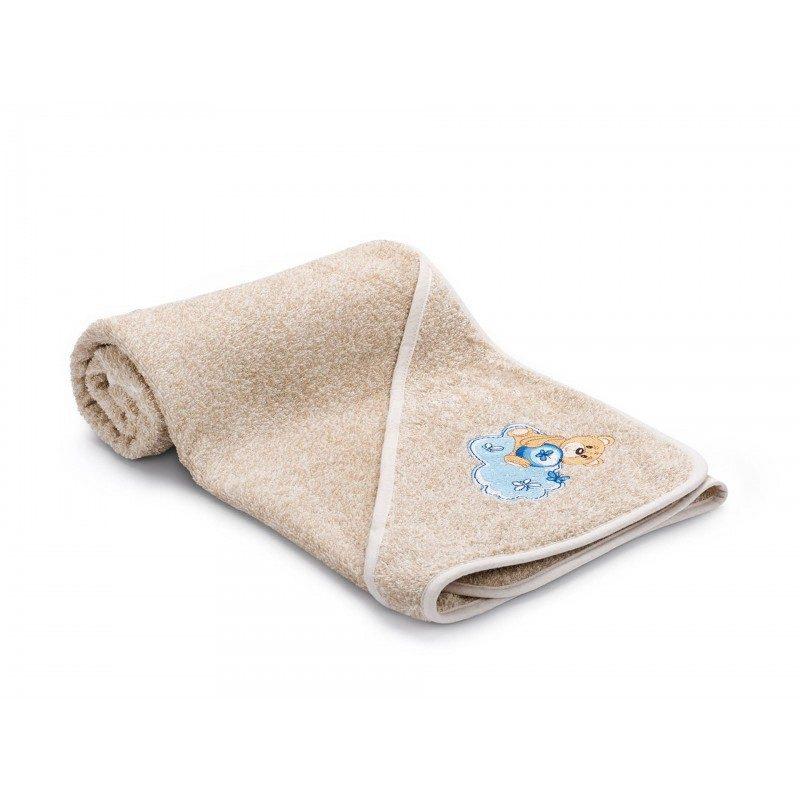 Otroška brisača s kapuco je izdelana iz 100 % bombaža. Najmlajše bo navdušila z vezenim motivom medvedka v modri barvi. V dimenzijah 80 x 80 cm.