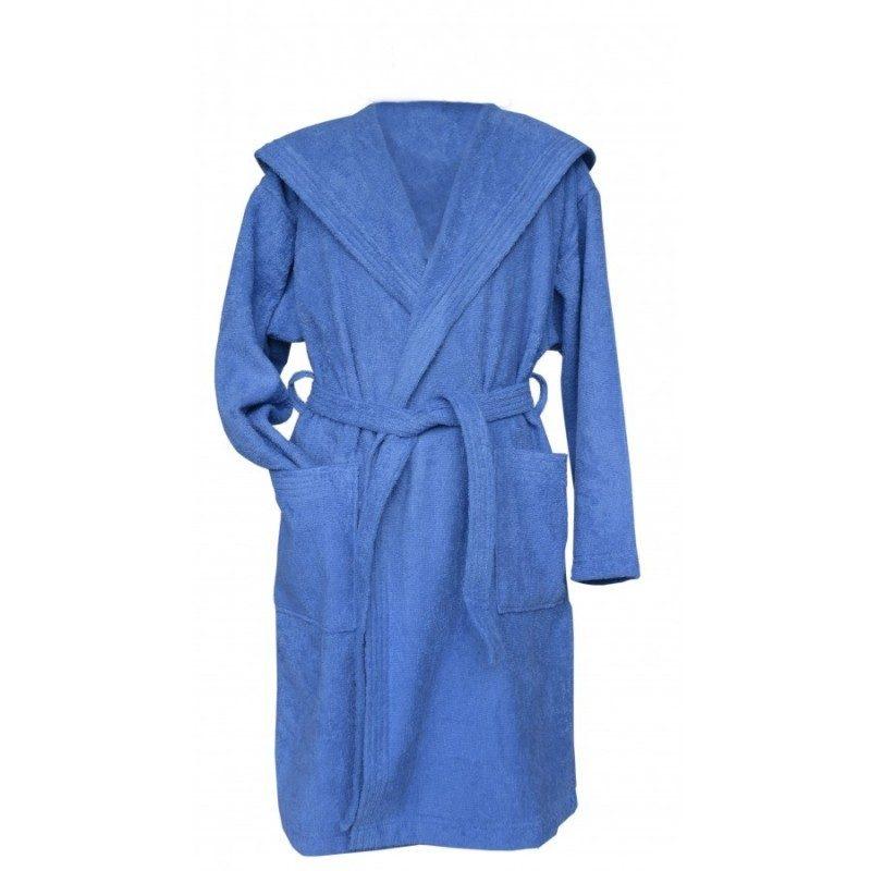 Kopalni plašč s kapuco iz kakovostnega frotirja je preprostega videza in je primeren za otroke.