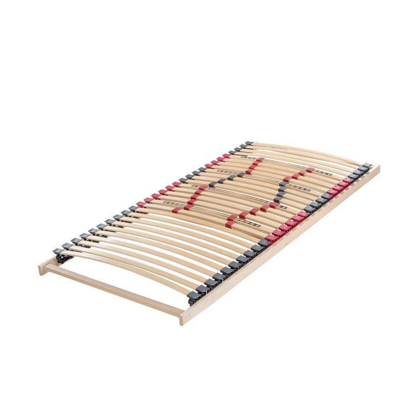 Izjemno trpežno vpeto letveno dno Regular Lux - fiksno poskrbi za pravilno podporo telesa in podaljšuje življenjsko dobo vašega ležišča. 5-consko letveno dno z nadstandardnim številom regulatorjev omogoča individualno nastavitev trdote posameznih letvic in tako omogoča odlično prilagajanje ležišča vašemu telesu. Trpežni prečniki iz masivnega bukovega lesa so jamstvo za čvrstost in stabilnost letvenega dna, saj s svojo gostoto in masivnostjo odlično prenašajo tudi večje obremenitve. Postavitev letvic je osnovana tako, da omogoča optimalno zračnost po celotni dolžini ležišča, ki tako ostane suho in sveže skozi celo noč. Vpeto prožno letveno dno priporočamo za ležišča iz pene in lateksa, ki potrebujejo dodatno vzmetenje in ustrezno zračenje.