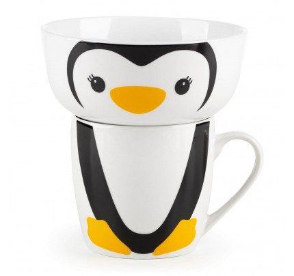 2-delni otroški set za zajtrk iz porcelana Rosmarino - pingvin