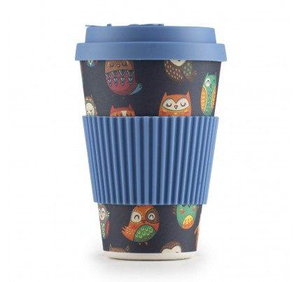 Bambusov lonček za kavo Sova - 400 ml