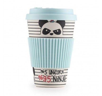 Bambusov lonček za kavo Panda - 400 ml