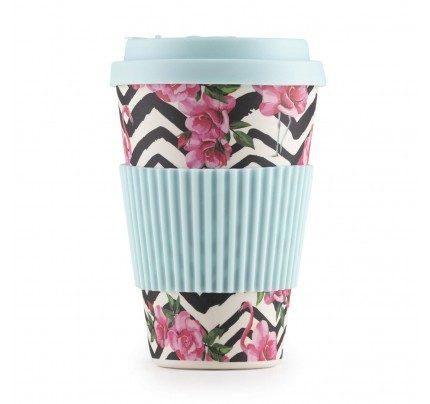 Bambusov lonček za kavo Pink Flamingo - 400 ml
