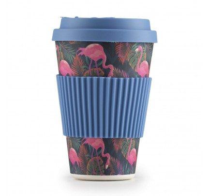 Bambusov lonček za kavo Tropical Flamingo - 400 ml