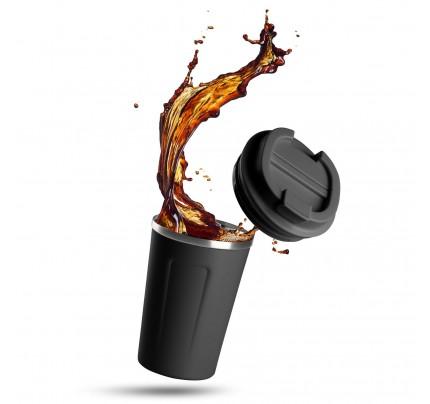 Termo lonček za kavo ali čaj Rosmarino 350 ml - črn