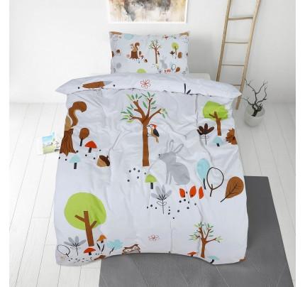 Otroška bombažna posteljnina Svilanit Woodland