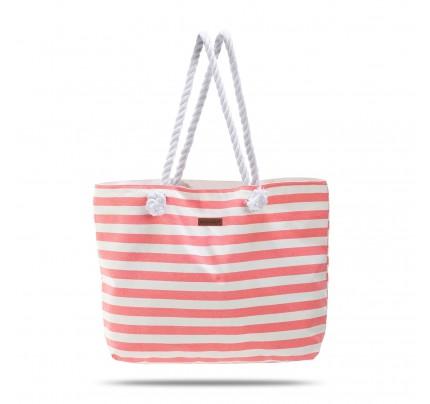 Velika plažna torba Svilanit Nautica - belo-roza