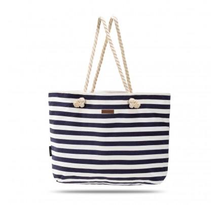 Velika plažna torba Svilanit Nautica - belo-modra