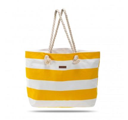 Velika plažna torba Svilanit Nautica - belo-rumena