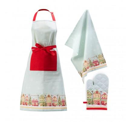 """3-delni set kuhinjskega tekstila Svilanit """"Xmas kuhinja"""""""