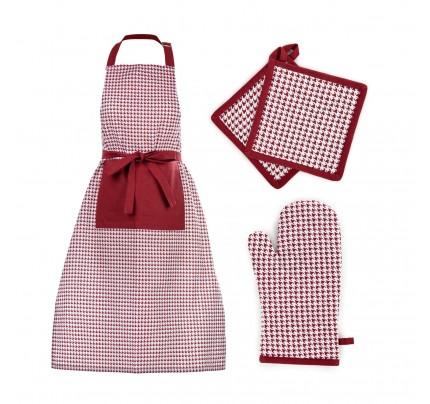 """4-delni set kuhinjskega tekstila Svilanit """"Pepita kuharski chef"""""""
