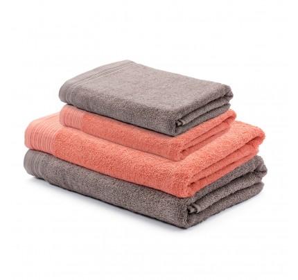 4-delni set brisač Svilanit Prima - koralna/sivo rjava