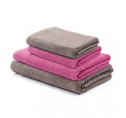 4-delni set brisač Svilanit Prima - roza/sivo rjava