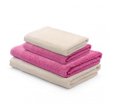 4-delni set brisač Svilanit Prima - bež/roza